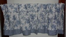 AMERICAN LIVING BLUE/WHITE FLORAL PLAID VALANCE 18X48 COUNTRY VICTORIAN
