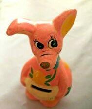 "Peach Pained 5.5"" Kangaroo Figurine Bank"