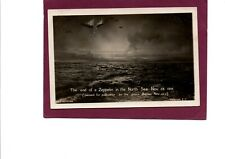 WW1 Real Photo Postcard The end of a Zeppelin in the North Sea Nov 28th 1916