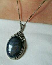 Grand pendentif collier couleur argent cabochon lapis lazuli bijou vintage 1877