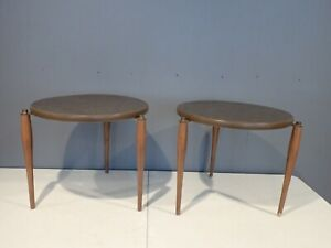 Pair of Vintage MCM Mid Century Modern Round End Tables Formica Tops