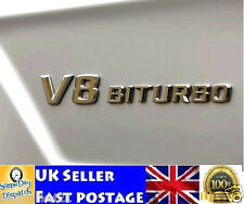 V8 BITURBO ABS Chrome Emblem Badge 3D Logo Sticker  AMG Merc Class E G S