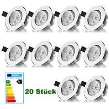 20x 3W Weiß LED Spot Einbauleuchte Einbau Strahler Decken Lampe Geschäft IP44