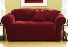 Sure Fit Stretch Pique Loveseat Slipcover Garnet Box Seat Style Cushion 1 Piece