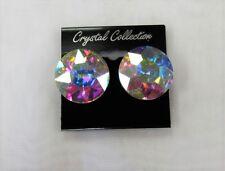 Round Stud Iridescent Rhinestone Crystal CLIP ON Earrings Bridal Wedding Prom
