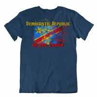Republic of the Congo flag Tshirt T-shirt Tee top city map lion holding a torch