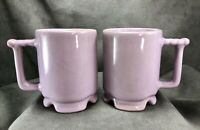 "TWO Vintage Frankoma Pottery C1 Footed Lavender Mugs Cups 4""  Beautiful Glaze!"