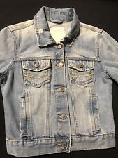 Aeropostale Jacket Women's Distressed Denim Sz.S-100% Cotton-Lt Blue Denim