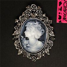 Hot  Betsey Johnson Fashion Rose Victorian Lady Cameo Rhinestone Brooch Pin Gift