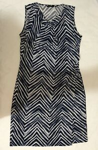 MARCO POLO NAVY & WHITE WATERCOLOUR ZIGZAG WRAP SLEEVELESS DRESS XL NEW RRP$119