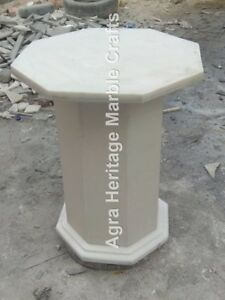 "18""x12"" Natural Modern Marble White Handmade Stand/Base Decor E576"