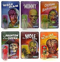 Universal Monsters Set of 6 Action Figures Reaction Super 7 Wolfman, Mummy, Etc.