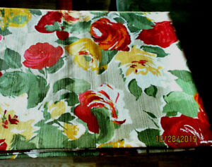 TABLECLOTH OBLONG 59x82''BEAUTIFUL ROSES PATTERN MULTI COLOR GENTLE USED