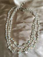 VINTAGE Rhombus Shape Beads 3 Strand Aurora Borealis Necklace #3