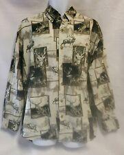 Men's Buck Elk Long Sleeve Button Down Dress Shirt Green & Ivory Sz. Lg A34