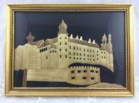 Wood Inlay Mixed Media Picture Wawel Castle Krakow Poland Framed 9x12