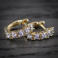 Men's Diamond 14k Yellow Gold Hoop Earrings