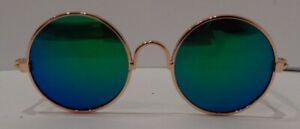 1 Pair of Mini Round Frame Eyeglass Sunglasses for 1/6 BJD Dolls Gold B