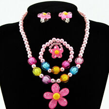 Baby Girl Set Necklace Bracelet Bangle Earring Ring Pearl Crystal Flower Jewelry