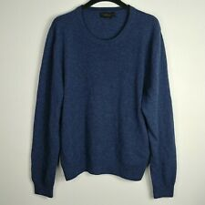 Bloomingdale's 100% Cashmere Sweater Men's XL Blue Crew Neck Long Sleeve
