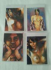 FOUR ASIAN NUDE WATERCOLOUR ACEO SKETCH ART CARDS PSC 13