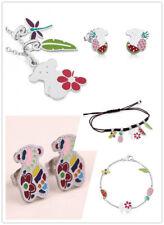 Stainless steel Bear Necklace Earrings set Color oil  Fruit flower Bracelet