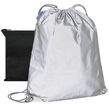 Reflektierender Sportbeutel mit Tasche Rucksack Reflektor Turnbeutel Sack Silber