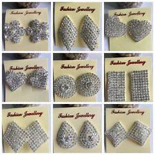 more style round heart Earrings Full Rhinestones silver Stud drop Earrings Women