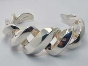 Links of London Entwine Bangle Cuff Bracelet, Sterling Silver RRP £295, small