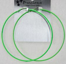 "Gigantic endless hoop earrings neon green 100mm 4"" wide thin wire big huge light"