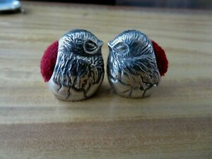 PAIR SOLID STERLING SILVER HALLMARKED NOVELTY CHICK BIRD PINCUSHIONS