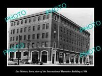 OLD LARGE HISTORIC PHOTO OF DES MOINES IOWA, THE INTERNATIONAL HARVESTER Co 1930