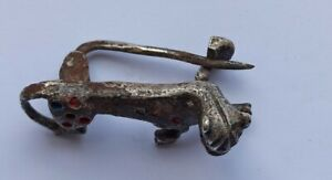 COMPLETE ANCIENT ROMANO-BRITISH SILVER ENAMELLED PANTHER FIBULA 100-200 AD