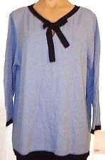 New Liz Lange Maternity XL cashmere blend blue & Black 3/4 sleeve tunic Sweater