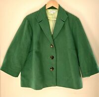 COLDWATER CREEK Women's Green Blazer Size 20 22 Lined Cotton Blend 3/4 Sleeves