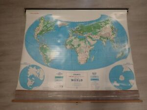 Vintage Cram's Map of the World School Pull Down Map