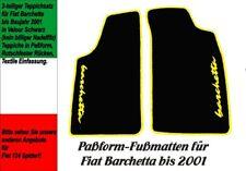 Fußmatten für Fiat Barchetta bis 2001  VELOUR! Schwarz Logo Gelb