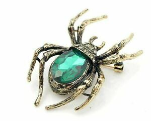 Vintage Look Gold Plated Green Spider Brooch Suit Coat Broach Collar Pin B48OE