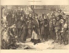 1872 ANTIQUE PRINT -  ART- PROCESSION OF THE HOLY THORN, BY A HUNT