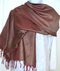 Banaras Silk Red Woven Paisley Floral Design Shawl, Wrap, Stole from India