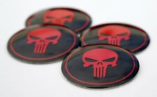 "(PACK OF 4) Punisher Skull Wheel Center Cap Sticker Emblem Decals 2.25"" Dome"