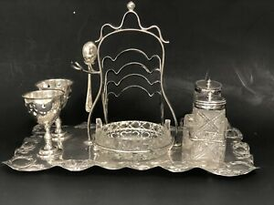 Antique Silver Plated English Breakfast Toast Rack Salt/Pepper Egg Cups Dish