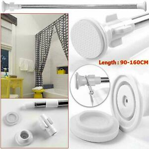 Extendable Telescopic Shower Window Curtain Rail Bath Chrome Pole Rod 90-160 cm