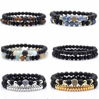2pcs Reiki Natural Stone Balance Beads Bracelets Bangle Womens Men's Jewellery