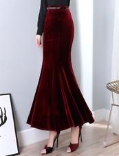 Womens Long Mermaid Skirt Slim Fit Maxi Velvet Bodycon Dress Elegant Party New
