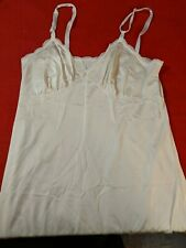 """Shadowline"" US Made Vintage Ivory Nylon Lace Trimmed Full Slip Size 34"