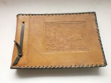 Vintage Old Leather Folder Album  Decorative art Retro Decor with ship - Burgas