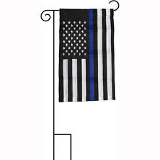 """12x18 Embroidered Usa Police Blue Memorial Sleeved w/ Garden Stand 12""""x18"""" Flag"""