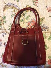 Lancel France Red textured leather bucket bag handbag
