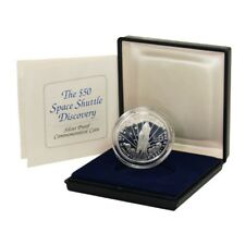 Marshall Islands Space Shuttle Discovery $50 1989 Proof Silver Crown Box & COA